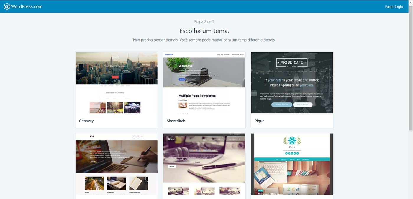 escolhendo o template no WordPress