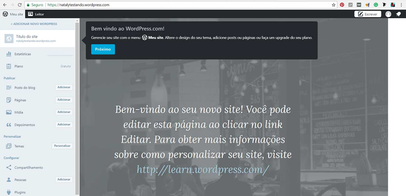dashboard do blog